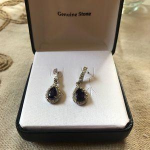 REAL amethyst tear drop earrings